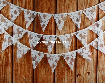 3.2M 12flags Wedding Bunting Party Birthday Show Handmade Decoration Photo Prop Cream Lace Fabric Garland Vintage Room Decor