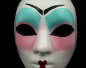 Sale! Geisha Mask, full faced geisha style with rose paint paper mache masquerade mask