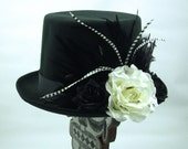 Debonaire Top Hat, Day of the Dead/Halloween/Mardi Gras/Wedding/Cosplay Accessory
