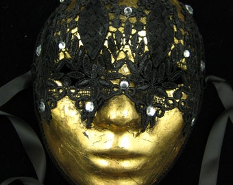 Divine Mask, Gold Leafed Full Masquerade Mask with Black Venetian Lace and Crystal Rhinestones