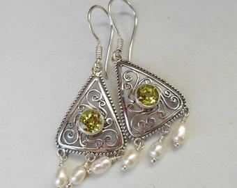 Balinese sterling Silver peridot gemstone seed pearl dangle Earrings / 1.70 inch long / Silver 925 / Bali handmade jewelry