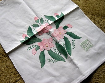 Pillow Case Sham UNUSED Applique Embroidered Flowers Cotton Hand made NEW NWT