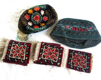 Fez HAT Pair Vintage Dress Up Costume Retro Cap TIBET with TAG and Brocade Suspenders Lot