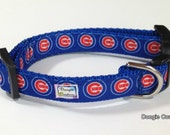 Go Cubs Chicago Cubs Dog Collar Size XS Through Large by Doogie Couture