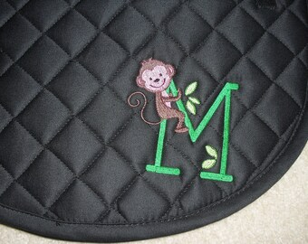 English All Purpose Saddle Pad-Embroidered Monkey Initial