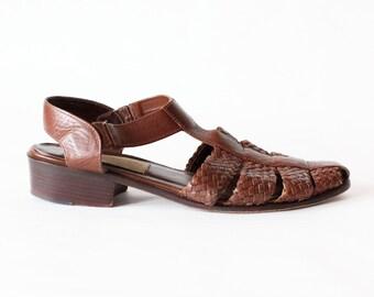 SALE Vintage Jones New York Brown Leather T-Strap Sandals, size 9