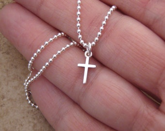 Simple cross necklace - Tiny silver cross - Sterling silver Cross necklace - Your choice of chain style - Photo NOT actual size
