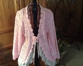 Altered, romantic, pink cardigan sweater, lace ruffle, embellished