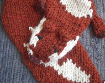 NEW!! Knitted Fox Stole Scarf in Copper