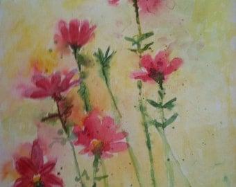 Watercolor Original Art -Stunning Cosmos... Pink