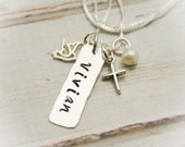 Dove and Cross Tag Necklace with Birthstone or Pearl for Confirmation Personalized Sterling Silver Hand Stamped Jewelry