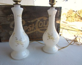 Vintage Pair White Milk Glass Lamps Handpainted Details