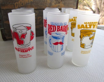 Vintage Seagram's Gin Tall Frosted Glasses Barware Red Baron Red Snapper Salty Dog