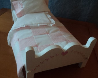 A Doll Bed and Bedding Handmade, Doll Bed, for 18 inch dolls