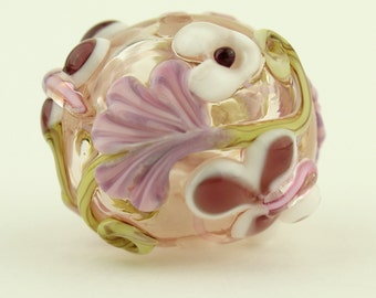 Hollow Lampwork Glass Bead with Pink Lavender Flowers 'Kissing Ball'
