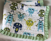 Blue and Green Baby Boy Monster Quilt Baby Shower Gift Monster Baby Bedding