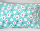 Fits 12 x 16 Pillow Minky Toddler Pillow Case Turquoise Pink Floral Minky Pillowcase Travel Size Pillow Cover