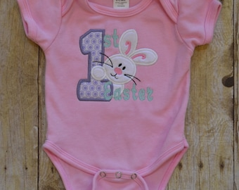 Babies first Easter pink or white bodysuit.