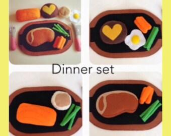 Pretend Felt food Play food Dinner set  ( Steak , Salmon ,Cheese Hamburg )