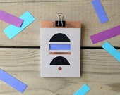 SALE Geometric colourful shapes blank sketchbook notebook with hand-cut window pattern and copper