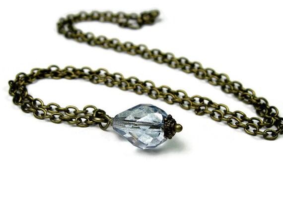 Blue Vintage Style Czech Glass Necklace, Blue Necklace, Vintage Style Jewelry, Glass Necklace, Delicate Jewelry Styles, Teardrop Necklace