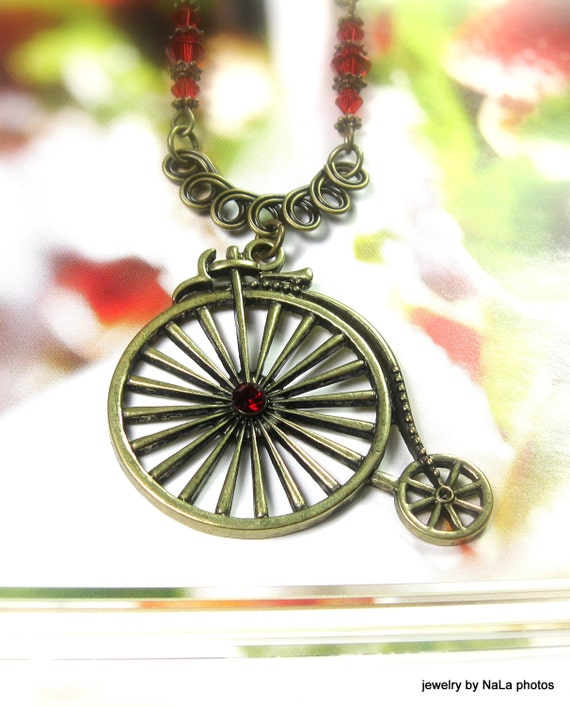 Vintage Style Necklace Penny Farthing High Wheel Bicycle Necklace Pendant Necklace Red Swarovski Crystal Womens Accessories Gifts For Her