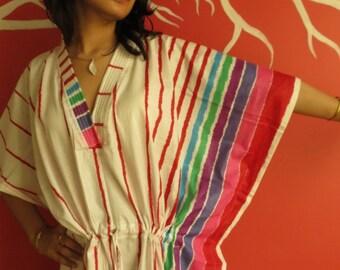 White Red Striped Kaftan Pajamas to live in beachwear Caftan, spa robe..make great Anniversary or Birthday gifts, new mom Gift