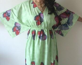 Buttoned Butterfly Sleeves Empire Waist Butterfly Kaftan Dress Summer Dress Long Maxi loungewear beachwear Maternity Dress Bridesmaids Robe