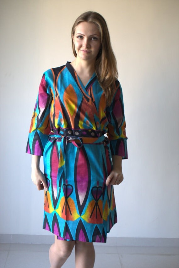 Blue Glowing Flame Patterned Robe | Kimono Style getting ready robe for wedding day, bridal shower gift, spa, dressing gown
