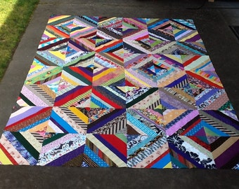 "Scrappy 12"" Blocks Quilt Top- #1"