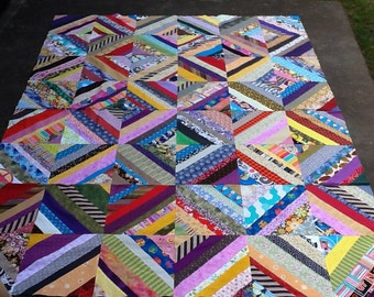 "Scrappy 12"" Blocks Quilt Top- #2"