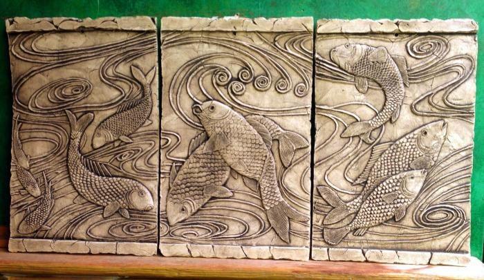 Koi fish mural ceramic pottery animal carp sculpture tile for Ceramic mural making