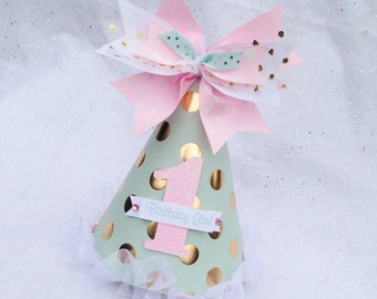Mint Pink and Gold Foil Birthday Party Hat with Polka Dots and Glitter Winter Onderland