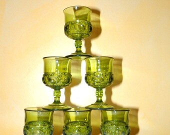 Indiana Glass King's Crown Green 4 1/2 Inch Wine or Port Glasses, Set of 6 Glasses also known as Thumbprint