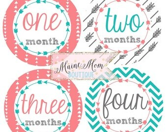 FREE GIFT, Baby Girl Month Monthly Stickers Shower Gift Nursery Decor Coral Teal Gray Arrow Chevron Tribal Aztec Bodysuit Photo Prop