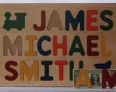 Wood Name Puzzle -  With Three Names -  Personalized with ALL CAPITAL Letters - Raised Letters - Kids Wooden Puzzle Toy - 3 Names Puzzle