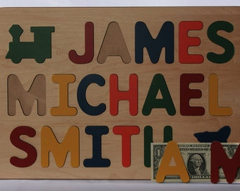 Wood Name Puzzle -  With Three Names -  Personalized with ALL CAPITAL Letters - Raised Letters - Kids Wooden Puzzle Toy