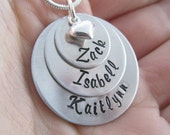 Hand Stamped Mommy Necklace - Personalized Sterling Silver Jewelry - Three Stack with Puffy Heart