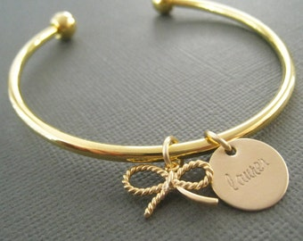 Gold Bangle, Bridesmaid Bangle, Gold Bangle Bracelet, Wedding Gift, Bow Bangle, Tying the Knot
