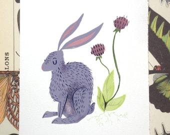 Rabbit Illustration Print CLEARANCE