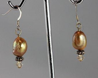 Gold Pearl & Swarovski Crystal  Earrings