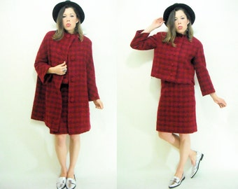 Cranberry Red Plaid Boucle Vintage 50's 3 Piece Matching Set Swing Coat + Skirt + Crop Jacket Suit Set Separates / Size Small