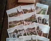 Edinburgh Scotland Photochrom Colour Snapshots Set of 12 1940's Collectible Paper Ephemera