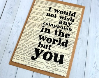 Shakespeare Quote Valentine Card I would not wish any companion - Book Lover Valentine - Literary Anniversary Card - Paper Anniversary (103)