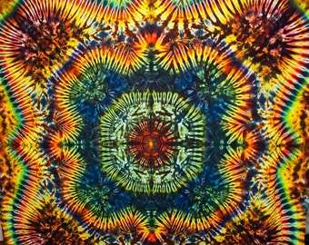 """87""""x72"""" Large Stage Size Tie Dye Tapestry  Made in USA Rainbow orange green red blue by Emeraldsprings"""