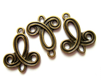 12 Jewelry connectors Antique bronze  jewelry findings earring components jewelry links 22mm x 19mm MLF9355