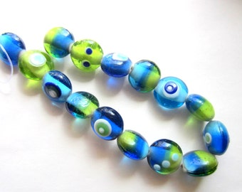 15 Blue green lampwork beads handmade glass bracelet set strand SEA1 beach wedding jewelry (SB1)