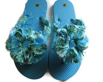 Flip Flops Decorated Blue Green Print Women