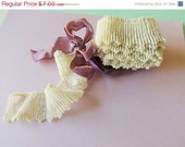 SPRING SALE 2 Yards of Pleated Ecru Chantilly Lace Vintage 1970's