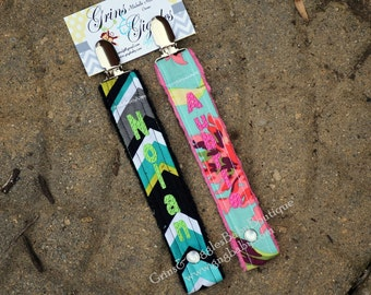 Pacifier Holder,Paci Clip,Teal Bliss,Chevron Groovy,Personalized,Binki Holder,Snap or Loop Closure,Design Your Own,Baby,Boy,Girl